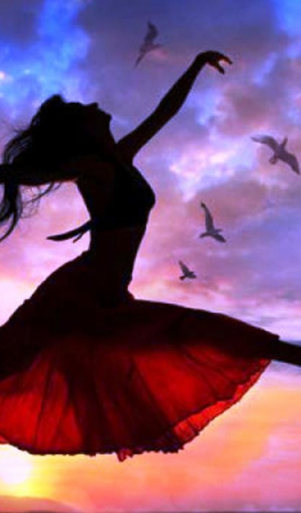 ws_Woman_Free_Flying_Sunset_Birds_600x1024