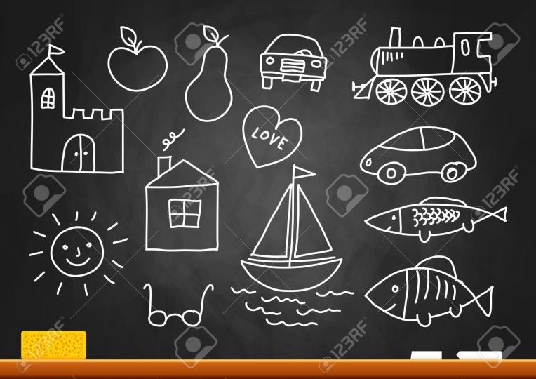 16435358-Drawings-on-blackboard--Stock-Vector-drawing-chalk-fish