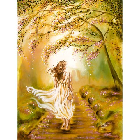 Woman painting walking in the park figurative art